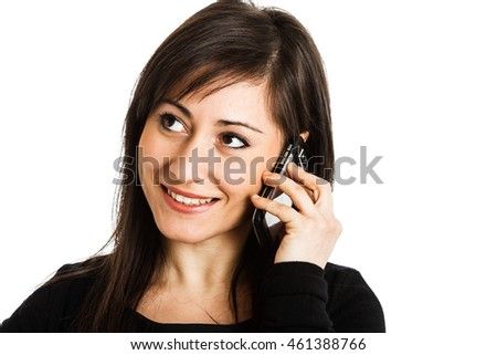 Portrait of a beautiful woman talking on the phone. Isolated on white