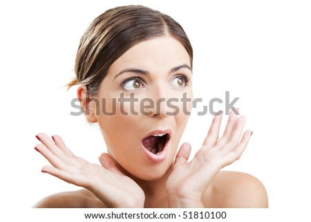 Portrait of a beautiful woman with an astonish expression - stock photo