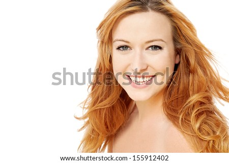 Portrait of a beautiful woman with golden hair - stock photo