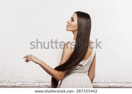 Portrait of a beautiful woman with long hair - stock photo