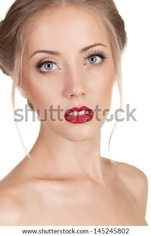 Portrait of a beautiful woman with make up - stock photo