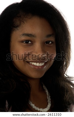 Portrait of a beautiful young African American girl smiling