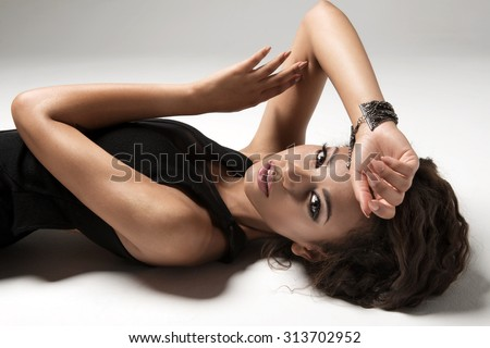 Portrait of a beautiful young African sexy woman   - stock photo