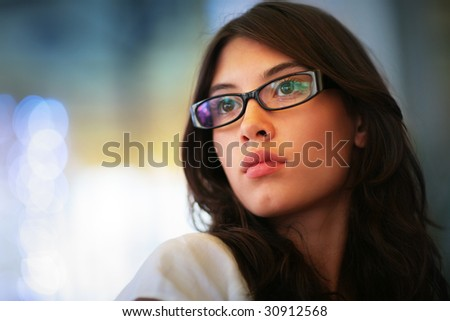 Portrait of a beautiful young asian woman. Shallow DOF. - stock photo