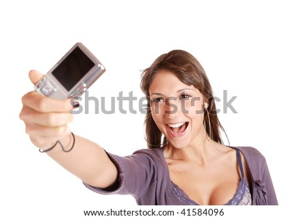 portrait of a beautiful young brunette woman talking a picture