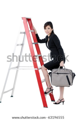 Portrait of a beautiful young businesswoman climbing up ladder with bag in hand, isolated on white background. - stock photo
