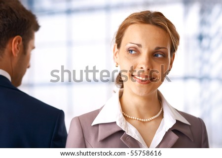Portrait of a beautiful, Young businesswoman, looking away,dreaming. - stock photo