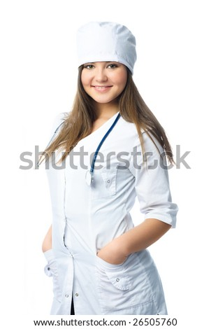 portrait of a beautiful young doctor wearing white uniform with a stethoscope - stock photo