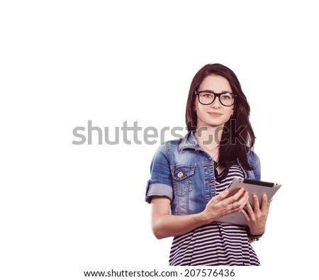 Portrait of a beautiful young female students on a white background. Studio photo - stock photo