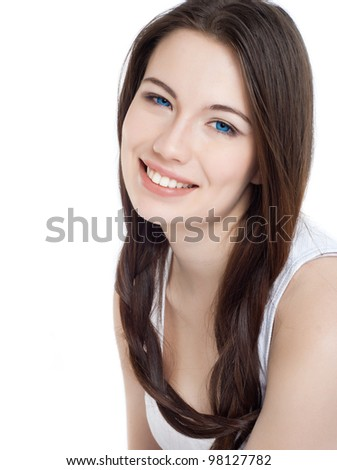 Portrait of a beautiful young girl with dark hair - stock photo