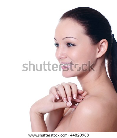 portrait of a beautiful young girl with perfect skin - stock photo