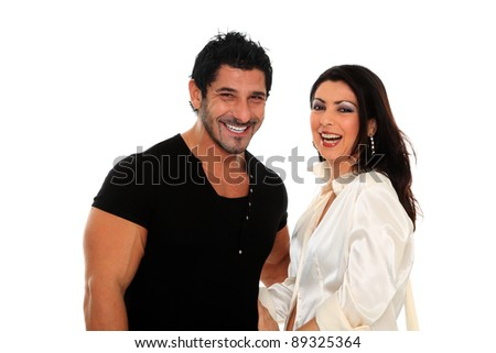 Portrait of a beautiful young happy smiling couple - isolated