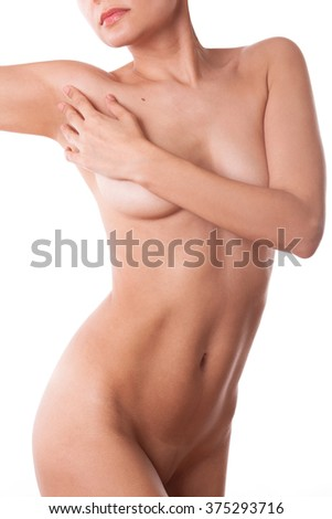 Portrait of a beautiful young nude sexy girl woman lady  covering her breasts with hand, isolated on white background, - stock photo
