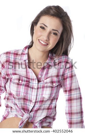 portrait of a beautiful young short haired woman - stock photo