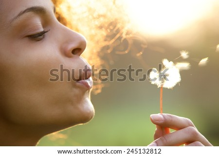 Portrait of a beautiful young woman blowing dandelion flower - stock photo