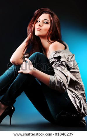 Portrait of a beautiful young woman brunette. - stock photo