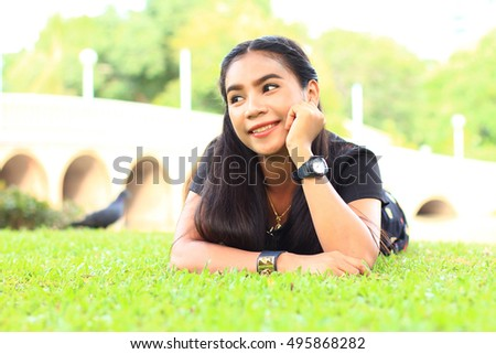 portrait of a beautiful young woman happiness