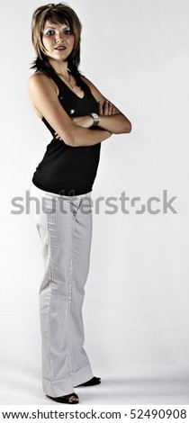 Portrait of a beautiful young woman in smart fashion. - stock photo