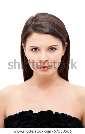 Portrait of a beautiful young woman isolated on white background. - stock photo