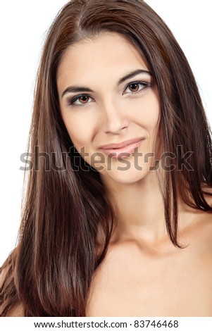 Portrait of a beautiful young woman. Isolated over white background.