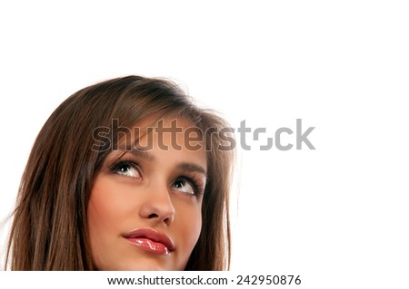 portrait of a beautiful young woman on an isolated white background - stock photo