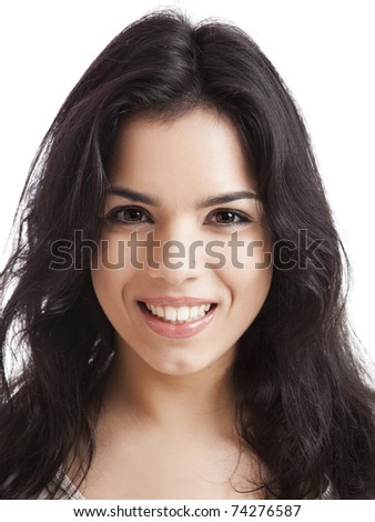 Portrait of a beautiful young woman smiling, isolated over white background - stock photo