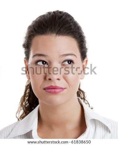 Portrait of a beautiful young woman thinking on something - stock photo