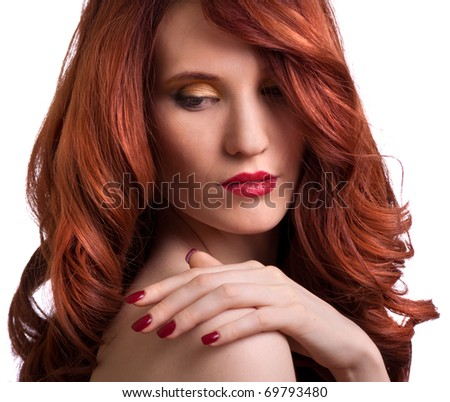 portrait of a beautiful young woman with bright makeup - stock photo