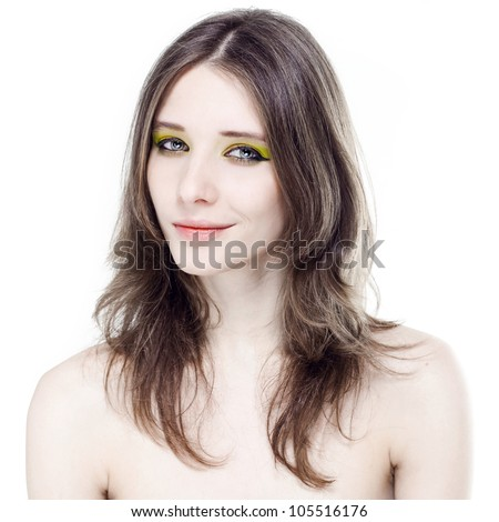 Portrait of a beautiful young woman with bright makeup on a white background.jpg - stock photo