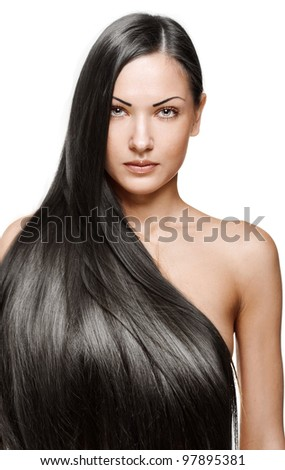 portrait of a beautiful young woman with elegant long shiny hair , hairstyle , isolated on white background - stock photo