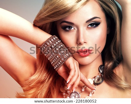 Portrait of a beautiful young woman with long hair.   Concept image is in tinting colorize style - stock photo