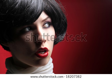 portrait of a beauty retro lady on red - stock photo