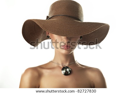 Portrait of a beauty woman wearing hat - stock photo