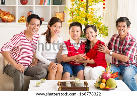 Portrait of a big Asian family celebrating the Chinese New Year together at home  - stock photo