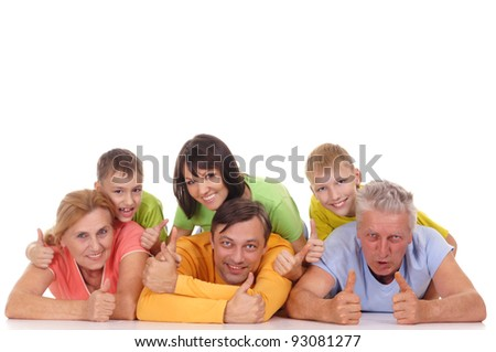 portrait of a big family lying on white - stock photo