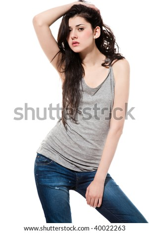 portrait of a black hair young woman isolated on white background. studio fashion shot