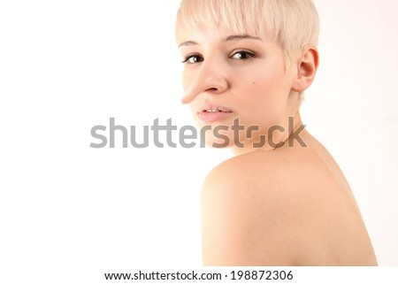 Portrait of a Blonde Girl with big nose  isolated on white background - stock photo