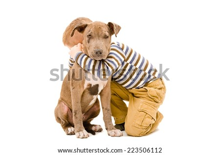 Portrait of a boy hugging a puppy pitbull - stock photo