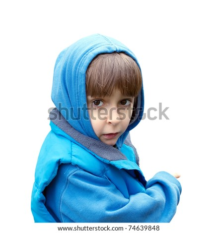 Portrait of a boy in a blue dress isolated on white background - stock photo