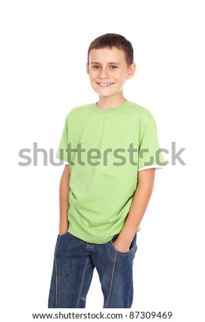 Portrait of a boy in green t-shirt isolated on white background