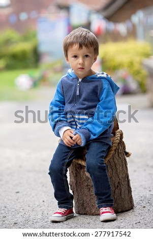 Portrait of a boy, sitting on a tree trunk - stock photo