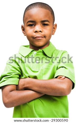 Portrait of a boy standing with his arms crossed isolated over white - stock photo