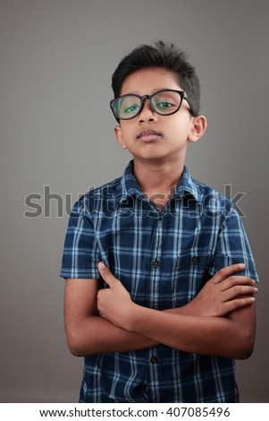 Portrait of a boy wearing a big spectacle