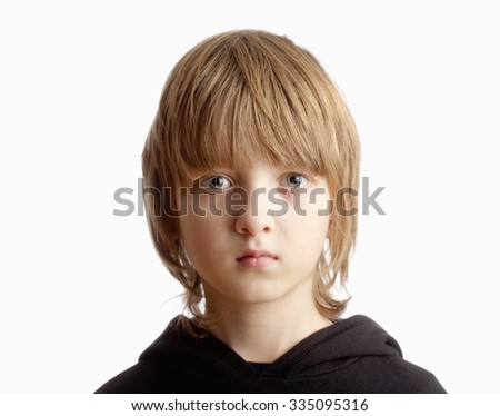 Portrait of a Boy with Blond Hair Looking - Isolated on White - stock photo