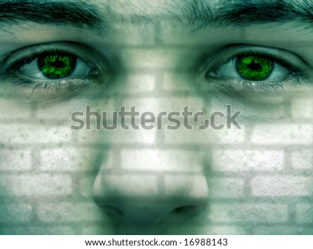Portrait of a boy with brick texture on his face - stock photo