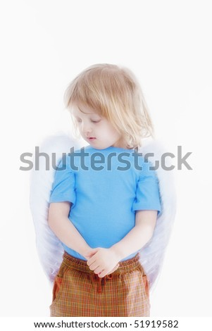 portrait of a boy with long blond hair and angel wings - isolated on white