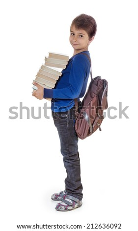 Portrait of a boy with school books. Isolate on white background. - stock photo