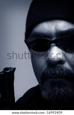 Portrait of a burglar - stock photo