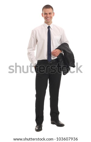 Portrait of a business man isolated on white background. Studio shot - stock photo