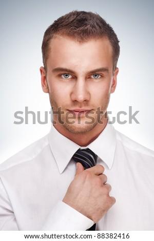 Portrait of a business man. Studio shot. - stock photo